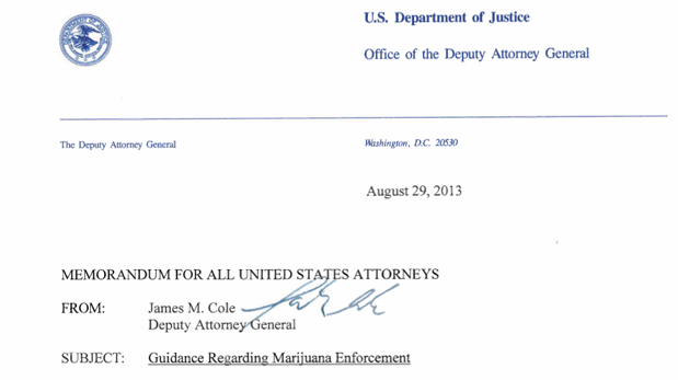 DOJ defers challenging states marijuana legalization