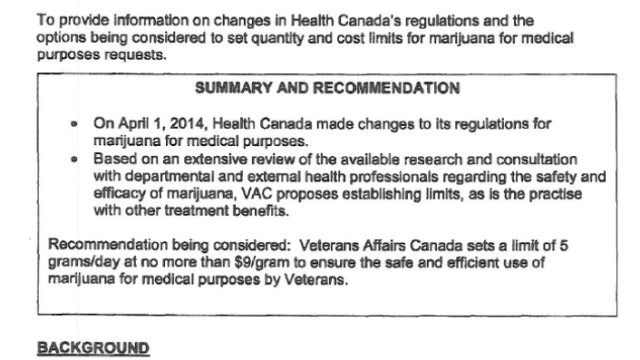 Government limits med-pot for Veterans