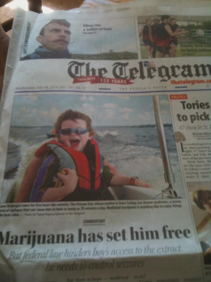 Liams journey on the cover of The Telegram