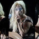 Triple-Gaga-smoking-joint-during-concert