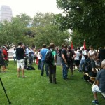Free Marc August 12 2014 supporters in park at City Hall