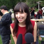 Jodie Emery takes questions at Free Marc event in Windsor