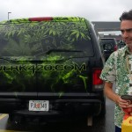Matt Mernagh behind the weed limo