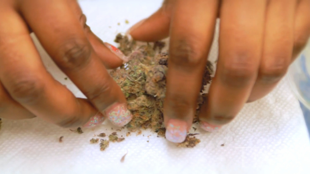 nice lady rolls some fresh weed