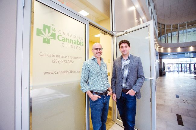 Ronan Levy and Joseph del Moral, directors of the first Canadian Cannabis Clinic in Niagara that opened on King St. in St. Catharines on Tuesday September 16, 2014. Julie Jocsak/ St. Catharines Standard/QMI Agency