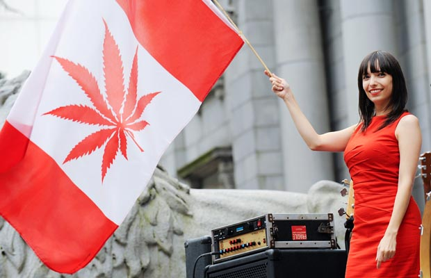 Jodie Emery red dress marijuana flag