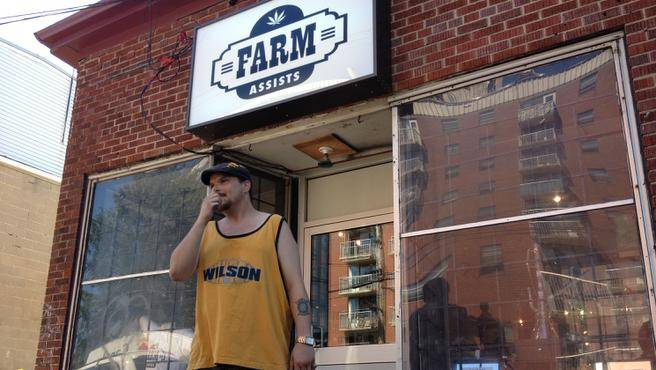 Gerry Randall, a military veteran who uses marijuana to treat his epilepsy, said Friday afternoon that he tried to get in to the Farm Assists Cannabis Resource Centre on Gottingen Street in Halifax and noticed the police inside. (INGRID BULMER / Staff)