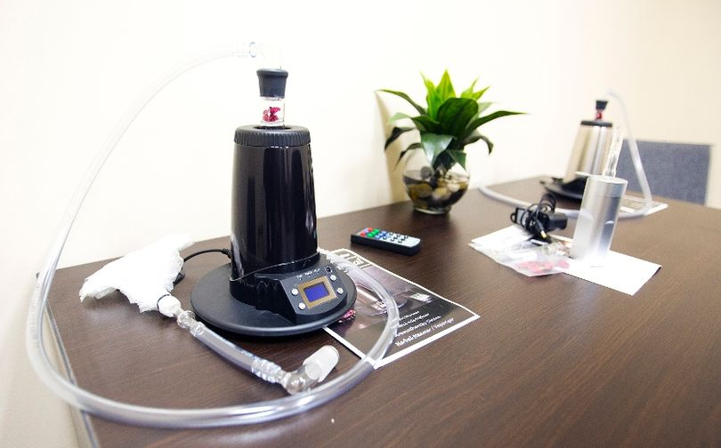 The first Canadian Cannabis Clinic in Niagara opened on King St. in St. Catharines on Tuesday September 16, 2014. Shown, are vaporizers in the Canvas RX office that advises patients on what strain of cannabis to use and how to consume it, preferably without smoking it. Vapourizors heat the cannabis to a level where the medicinal ingredients are consumable but greatly reduces the health risks associated with smoking it the tradition way. Julie Jocsak/ St. Catharines Standard/QMI Agency