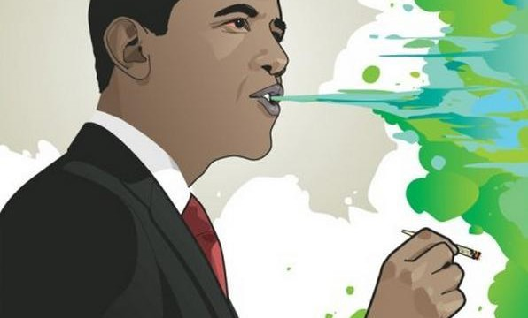 Barack Obama smoking green