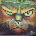Colorful cat graffiti art