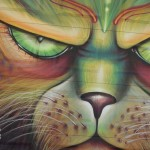 Psychedelic cat graffiti close up