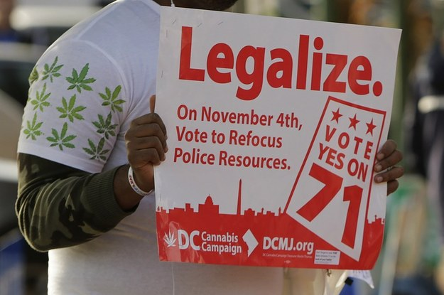 Melvin Clay of the D.C. Cannabis Campaign holds a sign urging voters to legalize marijuana, at the Eastern Market polling station in Washington November 4, 2014. REUTERS/Gary Cameron