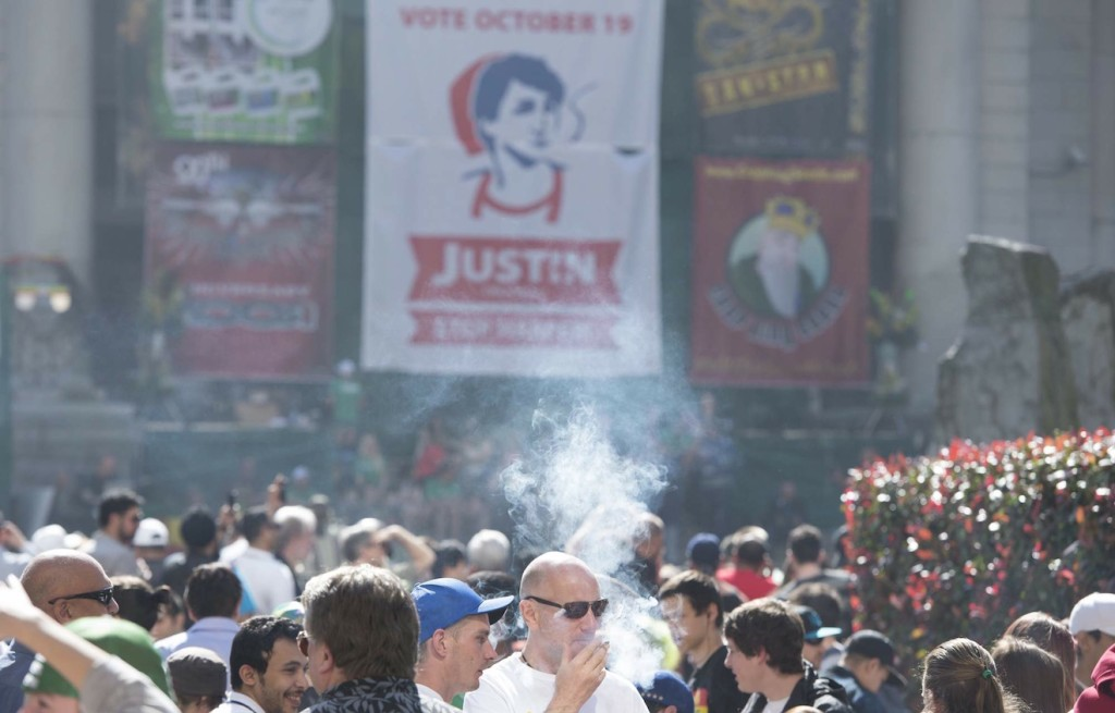 Thousands attend a 4-20 event in downtown Vancouver, B.C., on April 20, 2015