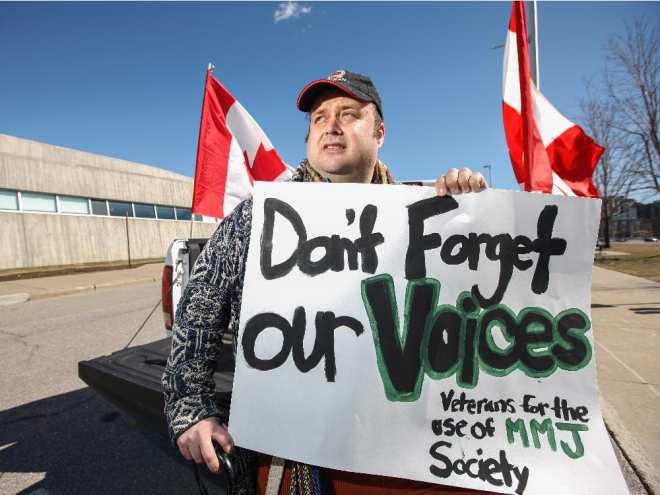 Cpl. Clayton Goodwin (ret'd) protested the Veterans for the Use of Medical Marijuana Society's exclusion from Veterans Affairs stakeholder meetings at the Canadian War Museum on Tuesday. Jesse Winter/ Ottawa Citizen. 0415 veterans | Jesse Winter