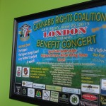 Cannabis Rights London Benefit sign