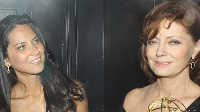 Susan Sarandon & Olivia Munn together with an Emmy at Trousdale Night Club in West Hollywood, CA