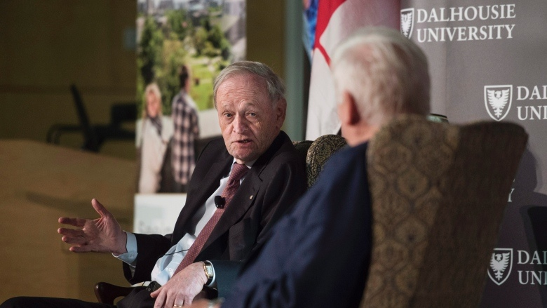 Former Prime Minister Jean Chretien, left, speaks with former MP Bob Rae during the launch of the MacEachen Institute for Public Policy and Governance at Dalhousie University in Halifax Monday. Chretien said it is time the government decriminalized pot possession. (Darren Calabrese/Canadian Press)