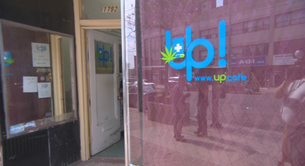 Aamra Hallelujah's storefront dispensary, Up Cafe, was among 43 such locations raided by Toronto Police on Thursday, when 90 people were arrested and slapped with a total of 186 charges. (CBC)