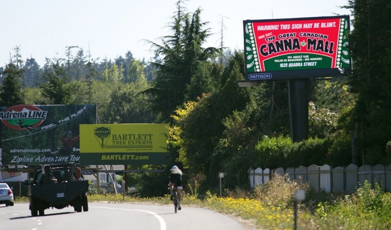 "A cyclist rides by a large billboard on the Pat Bay Highway advertising the ""Canna Mall,"" a collection of businesses targeting marijuana-buying customers.  Photograph By DARREN STONE, Times Colonist"